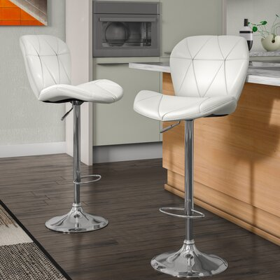 Desiree Adjustable Height Swivel Bar Stool Upholstery: White