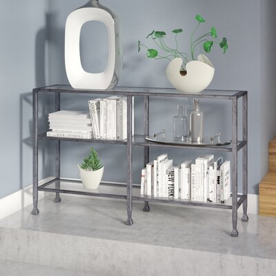 Casas Metal/Glass 3-Tier Console Table/Media Stand - Silver Color: Silver