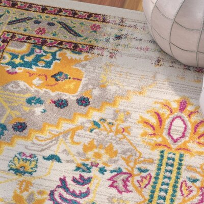 Binstead Traditional Vintage Distressed Power Loom Beige/Yellow Area Rug Rug Size: Runner 23 x 73