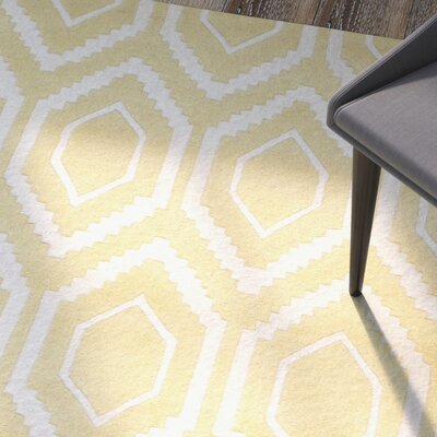 Vanderford Hand-Tufted Wool Light Gold/Ivory Area Rug Rug Size: Rectangle 2 x 3