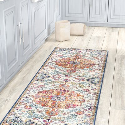Hillsby Saffron/Blue Area Rug Rug Size: Runner 27 x 103