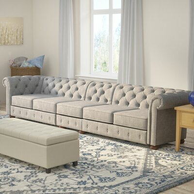 Gowans 5-Seater Button-Tufted Chesterfield Sofa Upholstery: Gray