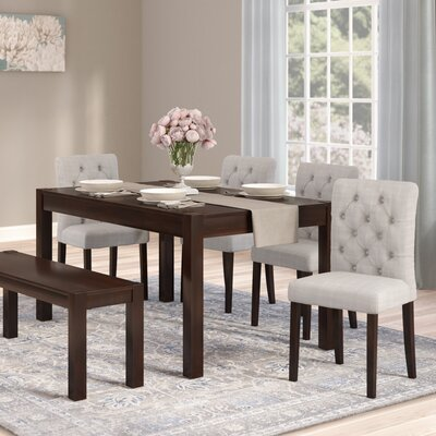Gardners 6 Piece Dining Set Upholstery Color: Gray