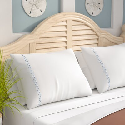 Isleboro Sateen Embroidered 400 Thread Count Double Stripe Pilllow Case Size: Standard