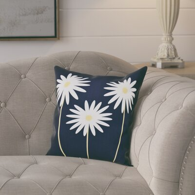 Omar Floral Print Throw Pillow Size: 26 H x 26 W x 1 D, Color: Navy Blue