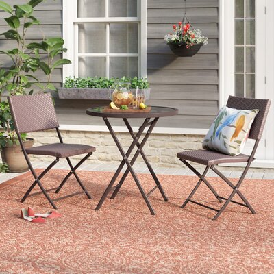 Slusser 3 Piece Metal Bistro Set ADML8474 40807635