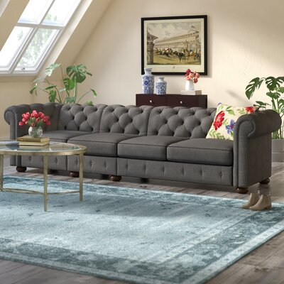 Gowans 4-Seater Button-Tufted Chesterfield Sofa Upholstery: Dark Gray
