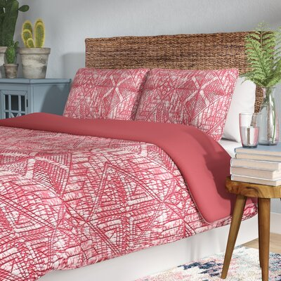 Mira Monte Duvet Set Size: King, Color: Coral