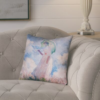 Elwyn Watercolor Woman with Parasol Square Pillow Insert Size: 16 x 16