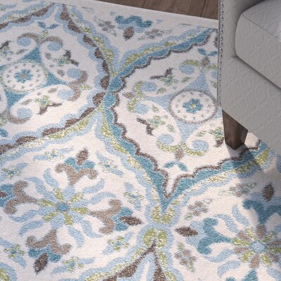 Emma Beige/Blue Area Rug Rug Size: Rectangle 18 x 210