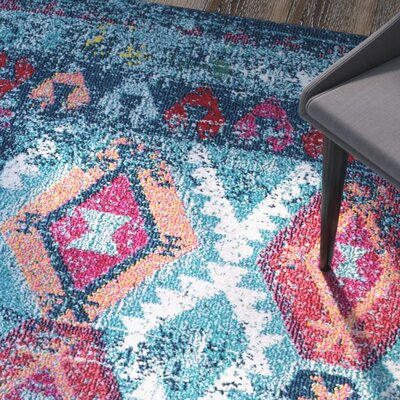 Burchell Aqua Area Rug Rug Size: Rectangle 8 x 10