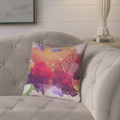 Elwyn Watercolor Butterfly and Rose Square Outdoor Throw Pillow Size: 20 x 20
