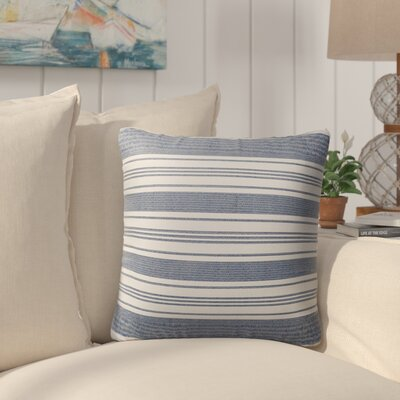 Pinehurst Burlap Modern Indoor/Outdoor Throw Pillow Size: 18 H x 18 W x 5 D, Color: Blue/ White