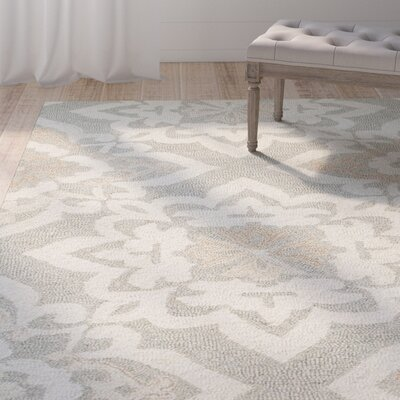 Alys Hand-Hooked Wool Gray Area Rug Rug Size: Rectangle 36 X 56