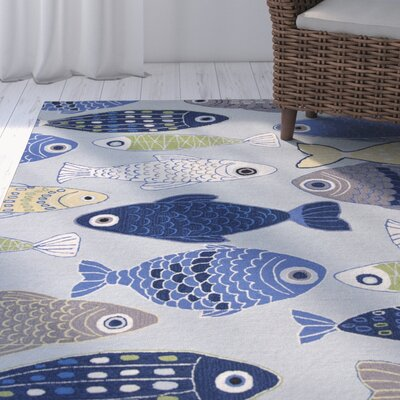 Burdick Sea Of Fish Hooked Light Blue Area Rug Rug Size: Rectangle 33 x 53