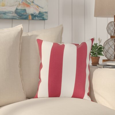 Outdoor Pillow Stripe Indoor/Outdoor Throw Pillow Size: 17 H x 17 W, Color: Red