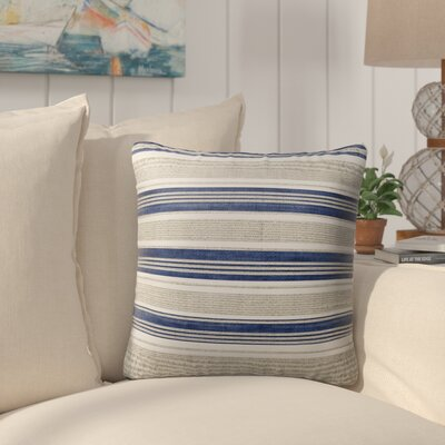Pinehurst Burlap Modern Indoor/Outdoor Throw Pillow Size: 18 H x 18 W x 5 D, Color: Blue/ Gold