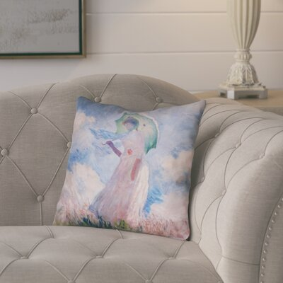 Elwyn Watercolor Woman with Parasol Waterproof Outdoor Throw Pillow Size: 18 x 18