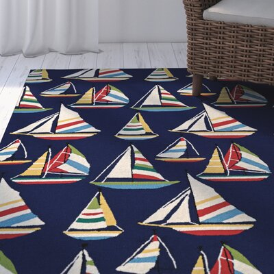 Emmeline Hand Hooked Navy Indoor/Outdoor Area Rug Rug Size: Rectangle 36 x 56