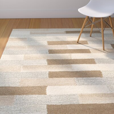 Frank Hand-Tufted Wool Beige Area Rug Rug Size: Rectangle 36 X 56