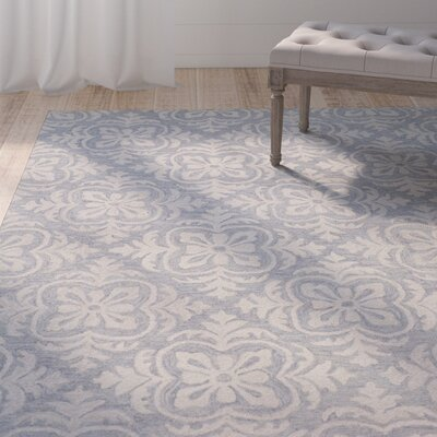 Oyer Hand-Tufted Wool Blue Area Rug Rug Size: 36 x 56