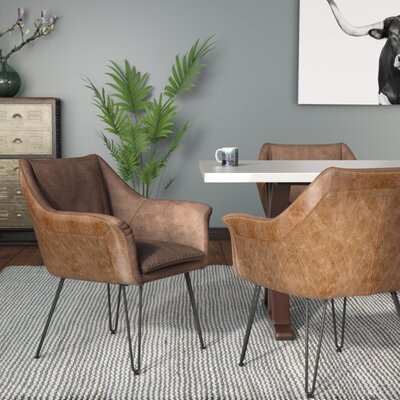 Greenwood Genuine Leather Upholstered Dining Chair Upholstery: Light Brown