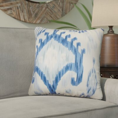 Bringewood Ikat Cotton Throw Pillow Color: Indigo, Size: 24 x 24