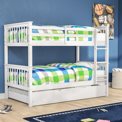 Esmeralda Twin over Twin Bunk Bed with Trundle Color: White