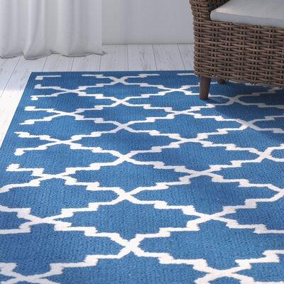 Fullerton Hand-Hooked Cotton Indigo/Ivory Area Rug Rug Size: Rectangle 79 X 99
