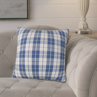 Joan Plaid Cotton Throw Pillow Cover Color: Navy
