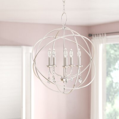 Auberta 5-Light Globe Pendant Finish: Polished Nickel