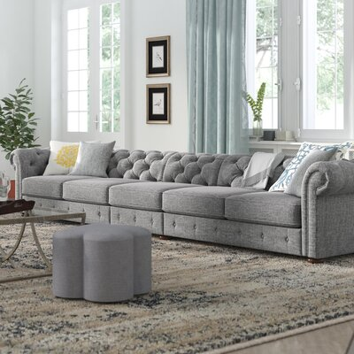 Gowans 6-Seater Button-Tufted Chesterfield Sofa Upholstery: Gray
