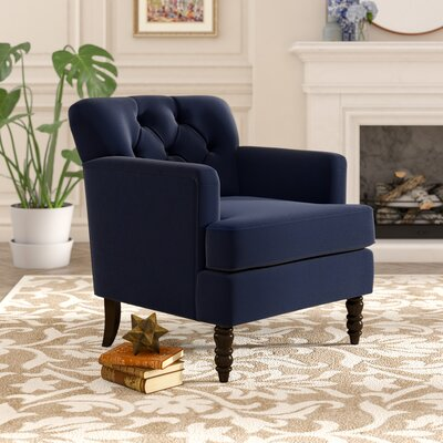 Quinton Traditional Armchair Upholstery: Navy Blue