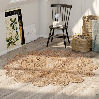 Grimpante Fiber Hand-Woven Natural Area Rug Rug Size: Round 6