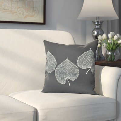 Leatham Leaf 2 Floral Outdoor Throw Pillow Size: 16 H x 16 W, Color: Black