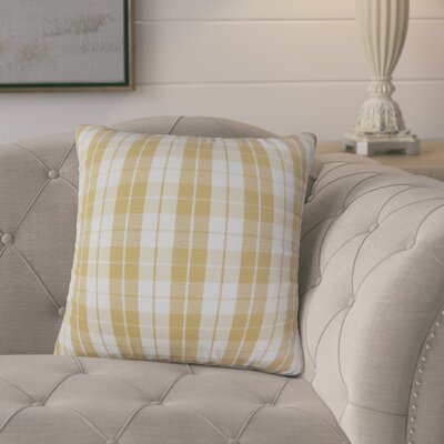 Joan Plaid Throw Pillow Cover Color: Honey