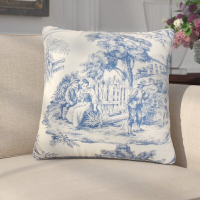 Wellhead Toile Cotton Throw Pillow Color: Blue, Size: 18 x 18