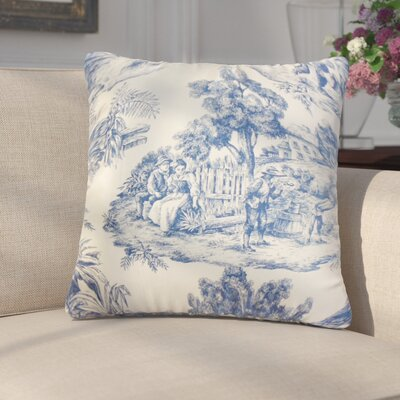 Chalgrave Toile Cotton Throw Pillow Cover Color: Blue