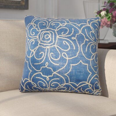 Chalda Floral Throw Pillow Color: Indigo, Size: 18 x 18