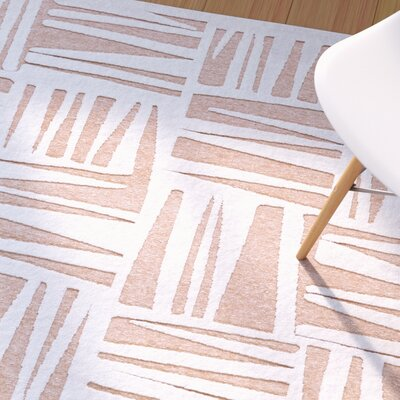 Drew White/Blush Area Rug Rug Size: Rectangle 53 x 76