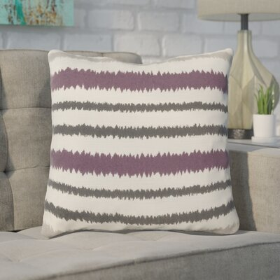 Arrey Vertical Stripes Linen Throw Pillow Size: 18 H x 18 W x 4 D, Color: Papyrus/Pewter/Amber, Filler: Down