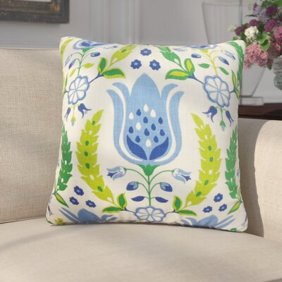 Mifflin Floral Throw Pillow Cover Color: Blue