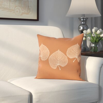 Leatham Leaf 2 Floral Outdoor Throw Pillow Size: 20 H x 20 W, Color: Orange