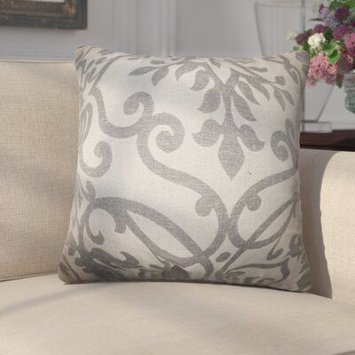 Milledgeville Floral Cotton Throw Pillow Cover Color: Pewter