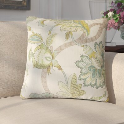 Chancery Floral Cotton Throw Pillow Cover Color: Aqua Green