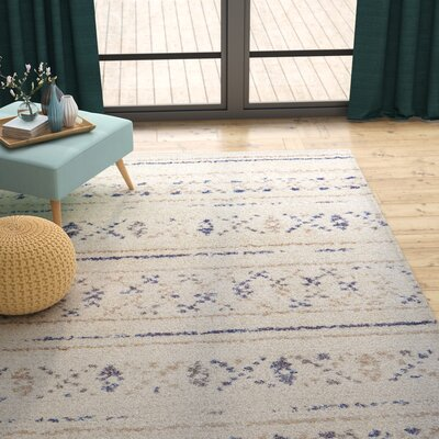 Kimberly Novia Ivory/Navy Blue Area Rug Rug Size: Rectangle 710 x 112