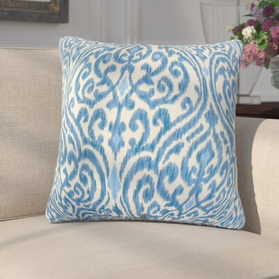 Chantry Ikat Cotton Throw Pillow Cover Color: Blue