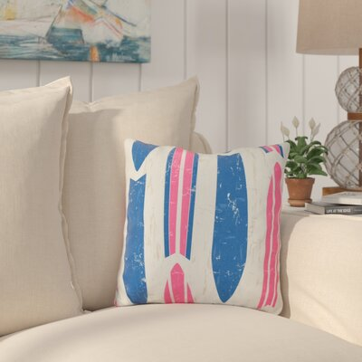 Cobscook Modern Geometric Outdoor Throw Pillow Color: Pink