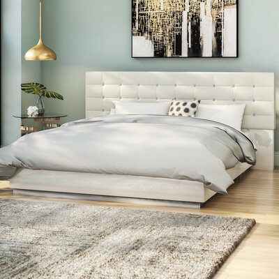 Matt Upholstered Platform Bed Size: Queen, Color: White
