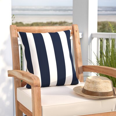 Woodcrest Stripe Indoor/Outdoor Throw Pillow Size: 17 H x 17 W, Color: Navy Blue